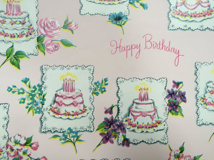 Vintage Gift Wrapping Paper Elaborate Pink Happy Birthday | Etsy