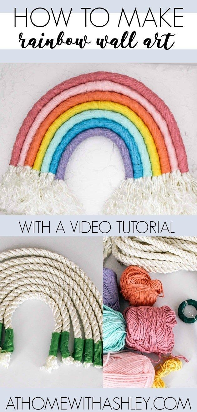 easy DIY- how ot make a rainbow wall hanging out of rope. This fiber art is the ...