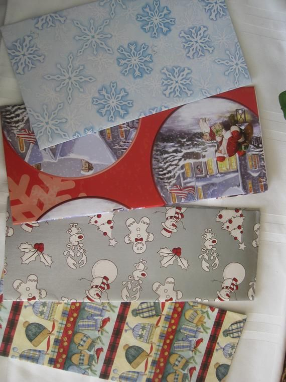 "Christmas vintage gift wrapping paper, 4 folded sheets, 20"" x 30"" each, diff. de..."