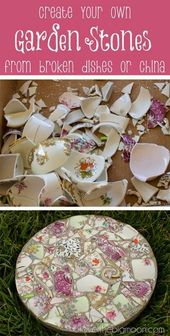 Mosaic garden stepping stones. How to take broken dishes and create beautiful ga...