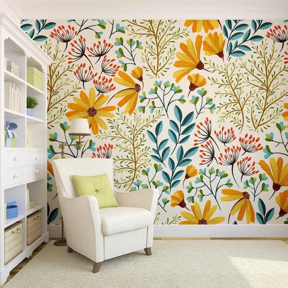 Removable Wallpaper Vintage Colorful Nature #14 | Removable Wallpaper, Peel and ...