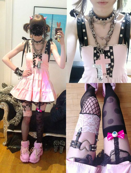 Pastel goth clothing, soft grunge, pastel hair, nu goth, fashion, pastel hair, u...