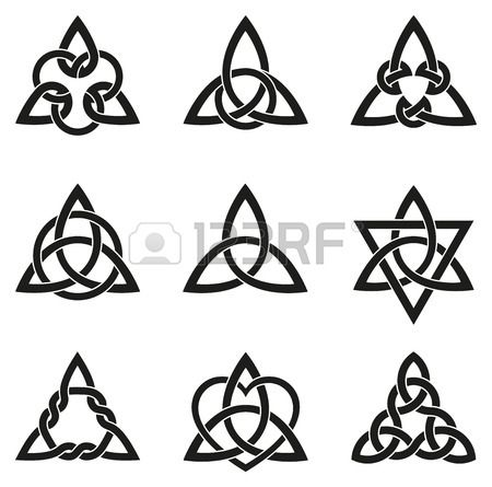 A variety of celtic knots used for decoration or tattoos. Nine endless basket we...