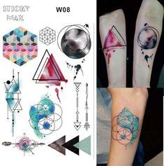 W15 1 Piece Outer Space Universe Temporary Tattoo With Space Geometric, Planet, ...
