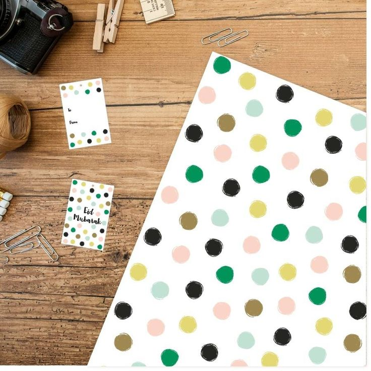 Polka Dot 'Eid Mubarak' Gift Wrap And Tag