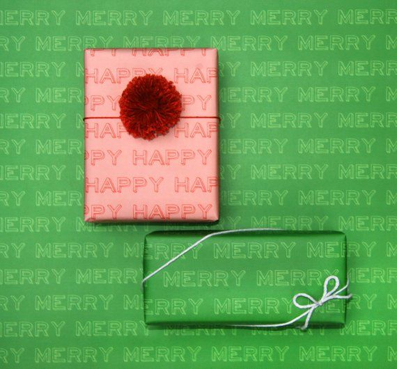 MERRY Gift Wrapping Sheets - Green
