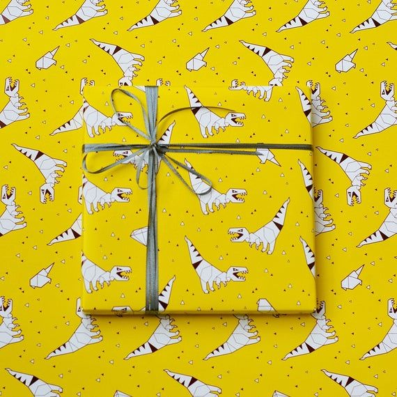 Yellow Trex Wrapping Paper,Birthday Gift Wrap,Baby Shower Wrapping Sheets,Jurass...