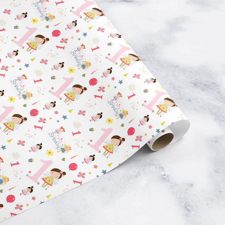 1st Birthday Girl Wrapping paper gift wrap gift wrapping by ChristeningGift on E...