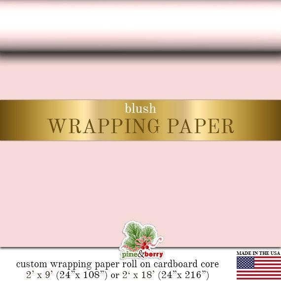 Blush Pink Wrapping Paper  | Custom Gift Wrap In Matte Blush Comes In Two Sizes ...
