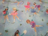 VTG 50S SWEET Little Girls Ice Skating Christmas Gift Wrap Wrapping Paper Sheet ...