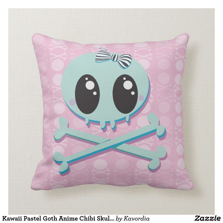 Kawaii Pastel Goth Anime Chibi Skull Baby Throw Pillow