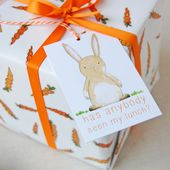 CARROTS And RABBITS WRAPPING Paper Set Bunny Gift Wrap Quirky | Etsy