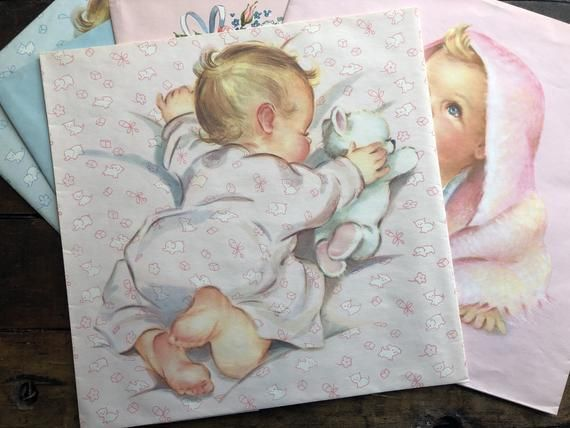 Baby Gift Wrap NOS/5 Sheets ~ Vintage ~ Boy & Girl ~ Blue/Pink Wrapping Paper/Fr...