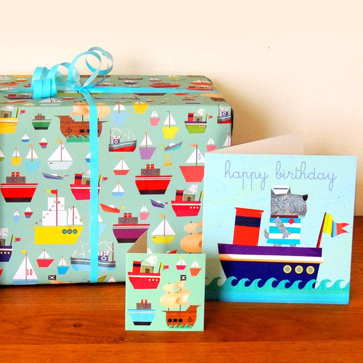 Boats Gift Wrap Two Sheets
