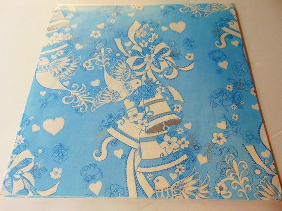 Vintage Wedding Doves Bells Gift Wrap, 60s Bridal Shower Wrapping Paper, One She...