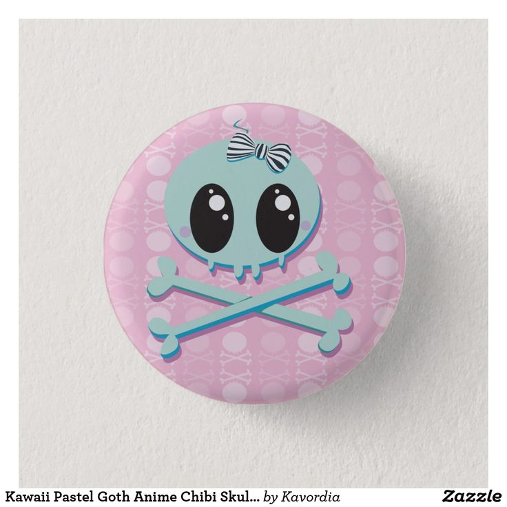 Kawaii Pastel Goth Anime Chibi Skull Baby Button