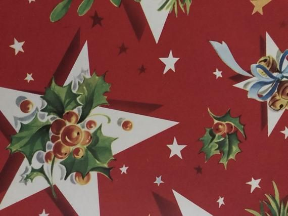 Vintage Christmas Gift Wrap-1950s Holiday Wrapping Paper-1 Sheet-Holly Stars