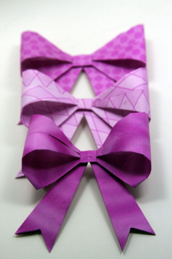 Purple Origami Gift Wrapping Bows Set of 6 by meligami on Etsy