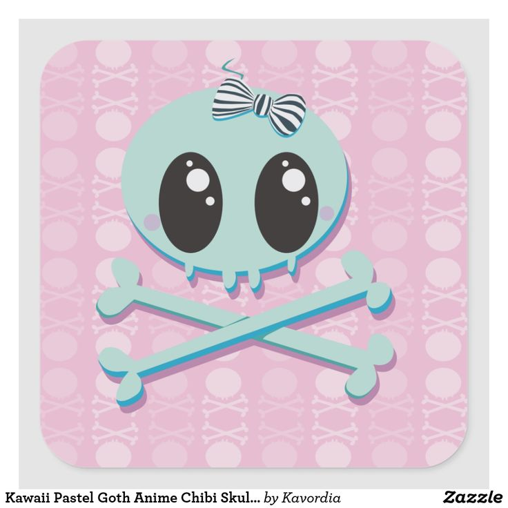 Kawaii Pastel Goth Anime Chibi Skull Baby Square Sticker