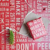 Festive Fun Christmas Red Kraft Gift Wrap
