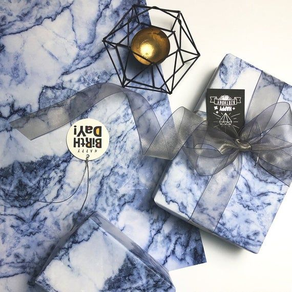 Blue And White Marble Wrapping Paper,Birthday Gift Wrap,Marble Painting Wrap,Hol...
