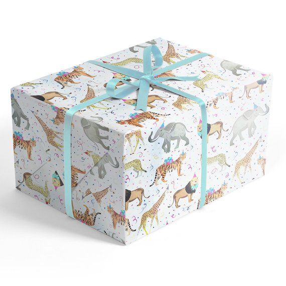 Safari Party Wrapping Paper, 2' x 10' Premium Gift Wrap with Elephants, ...
