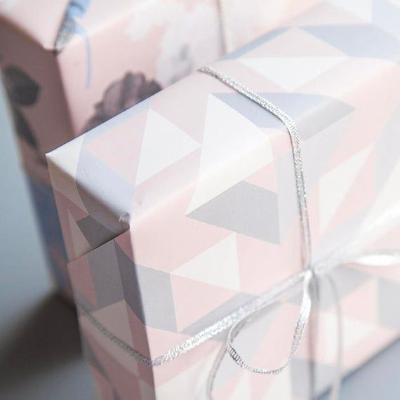 Grey And Pink Geometric Wrapping Paper,Wedding Gift Wrap,Birthday Wrapping,Holid...