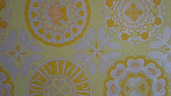 Vintage 1970s Wedding Gift Wrap-Yellow Hearts & Bells Wrapping Paper--1 Sheet