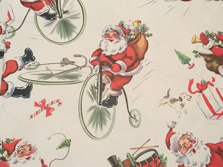 VTG CHRISTMAS WRAPPING PAPER GIFT WRAP 1940s SANTA ON ANTIQUE BICYCLE PUPPY  NOS...