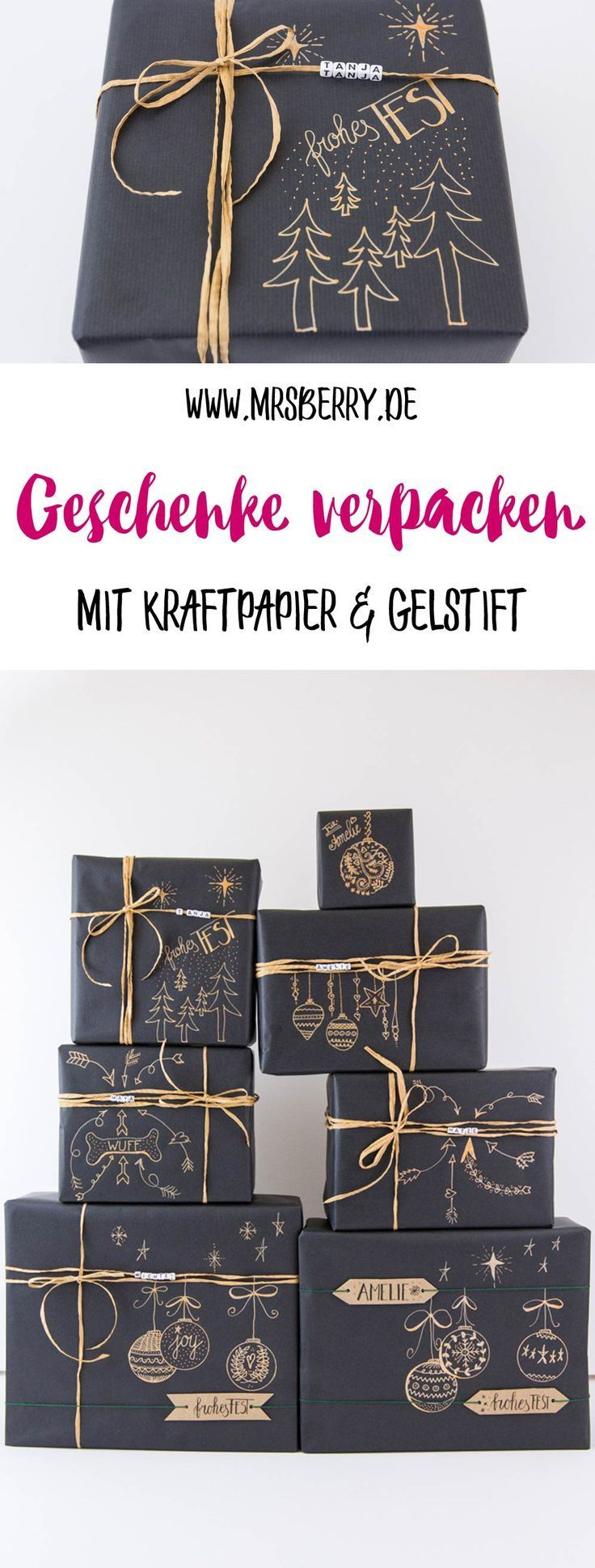 How to pack gifts beautifully with kraft paper