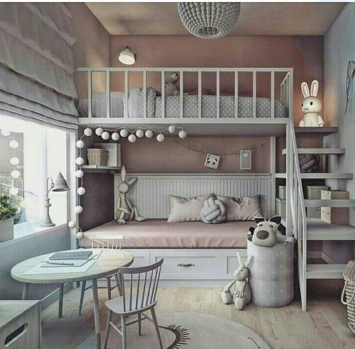Shared girl's room gray with pink bed. Bunk Bed - Shared Girl ...