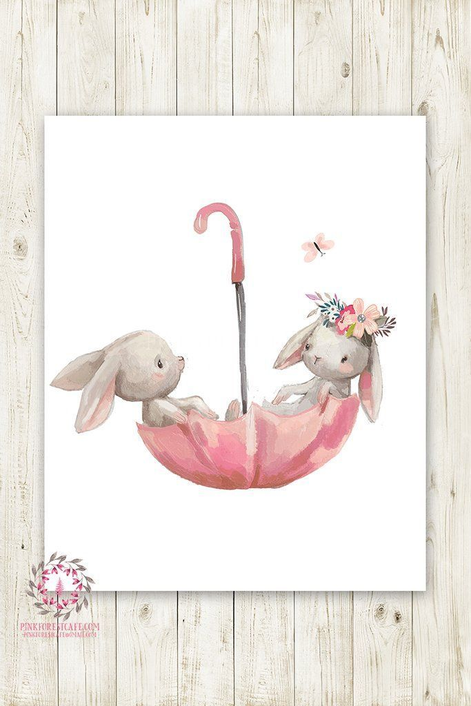 Umbrella Bunny Rabbit Rabbit Boho Girl Nursery Wall Art Print ...