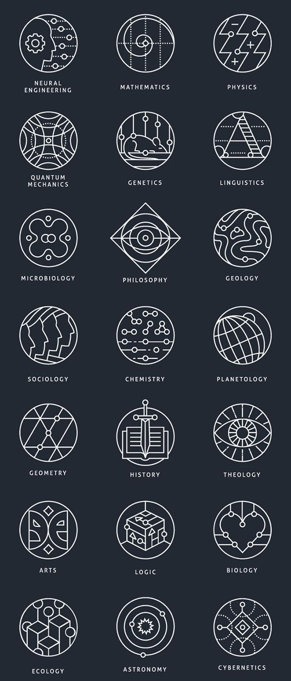 Geometric Tattoo – Collection of conceptual marks, representing different scientific areas.Availabl…