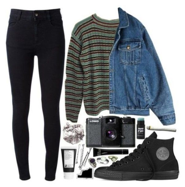 sweater grunge denim jacket aesthetic tumblr tumblr sweater polyvore cardigan pu...