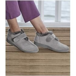 Suede-look slippers with faux fur lining