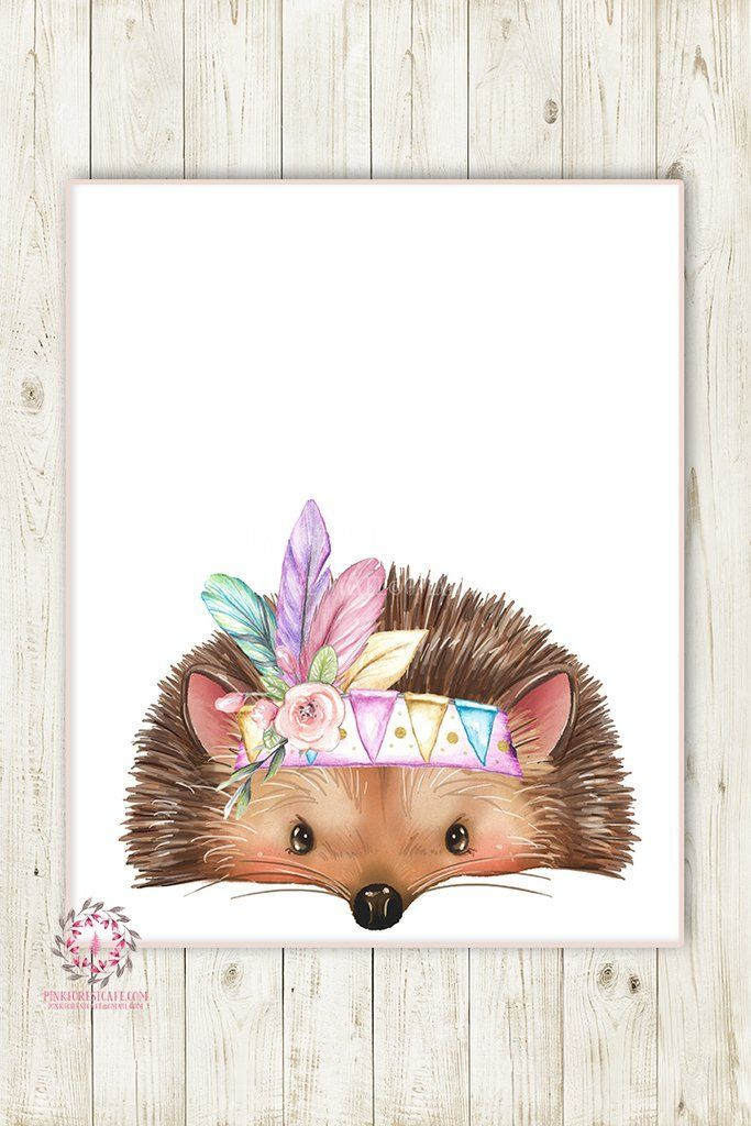 Boho Tribal Feather Hedgehog Woodland Wall Art Print Nursery Baby Girl Bohemian Floral Room Printable Decor
