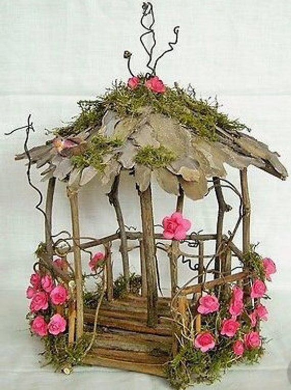 Fairy Garden Pavilion Natural unfinished wood decorate your own - wood building