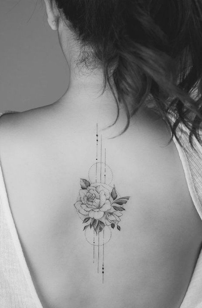 Delicate Rose Floral Flower Geometric Tattoo Ideas For Women - Ideen de tatuaje… #tattoos - Best Tattoos