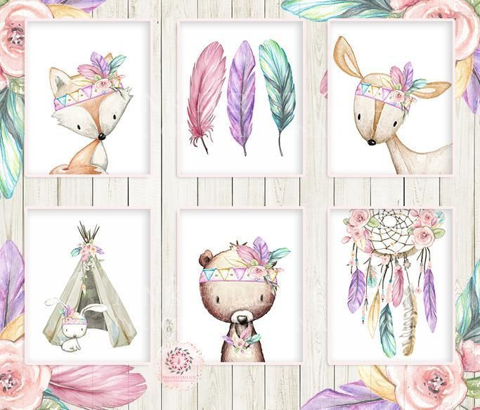 7 Deer Fox Bunny Bear Wall Art Print Dreamcatcher Teepee Feather Nursery Rainbow...