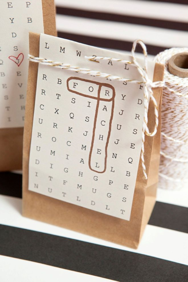 Great gift packaging idea with free, edited and printable search paper ...