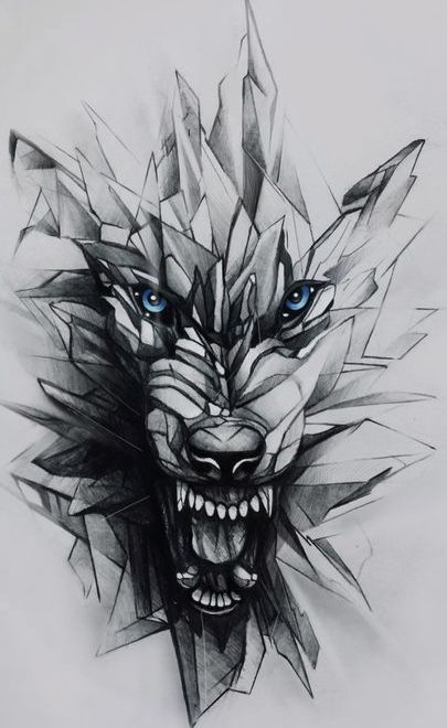 Pissed off wolf tattoo design. Geometric effect #wolf #geometric #tattoo .....