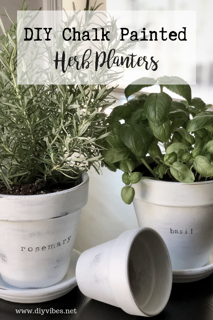 DIY Chalk Painted Herb Planters